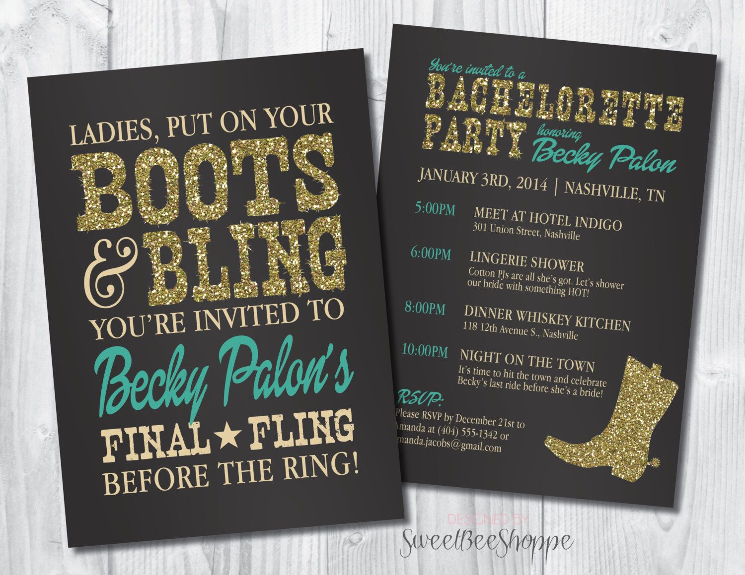 Country Western Bachelorette Party Invitation Boots u0026