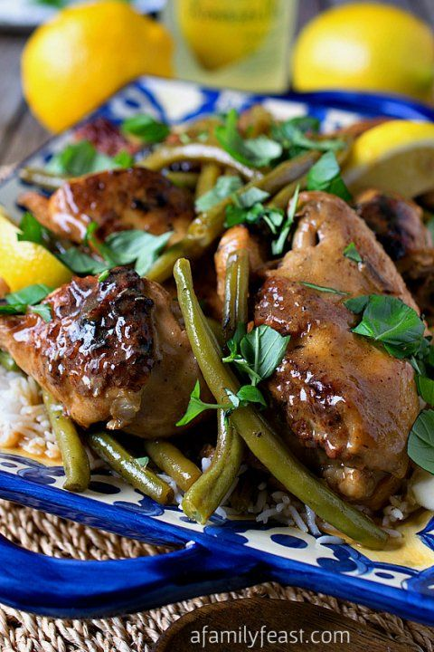 Braised Chicken Limoncello with Green Beans - Delicious, tender and flavorful chicken thanks to limoncello! Served with tender, fresh green beans, this is a delicious dinner!
