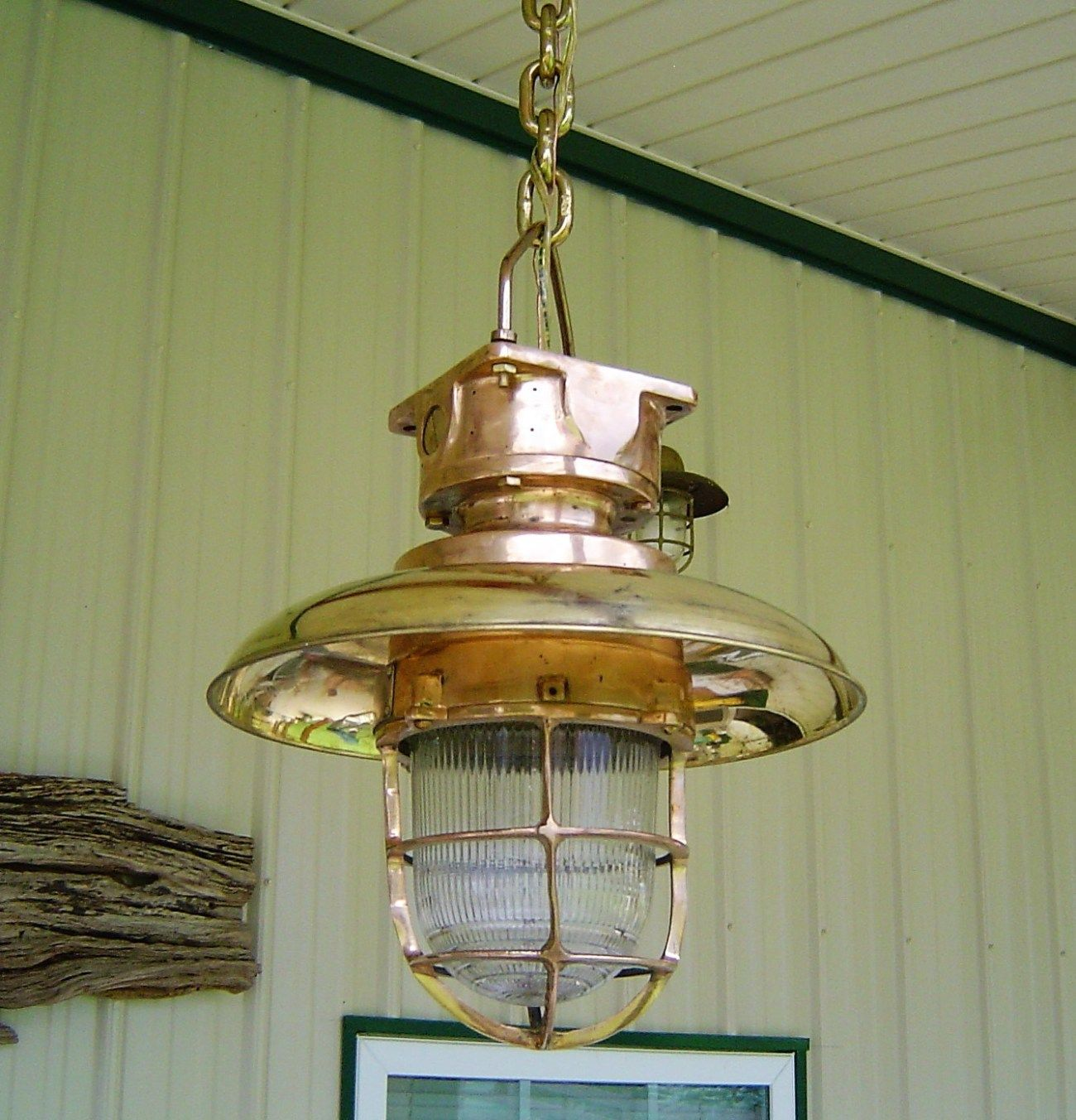 Hanging Pendant Light With Brass Cover Big Ship Salvage Hanging Pendant Lights Pendant Light Nautical Ceiling Light