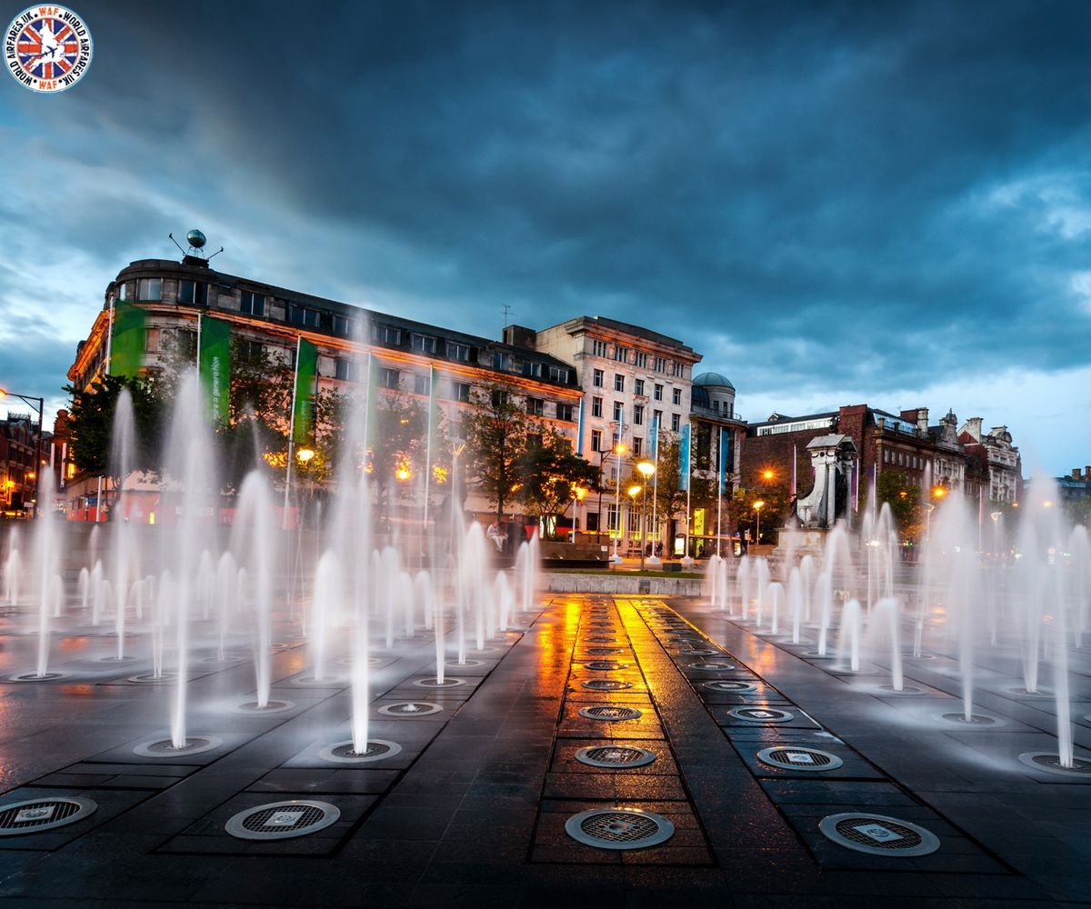 Manchester Piccadilly Gardens fountains, England Call Us