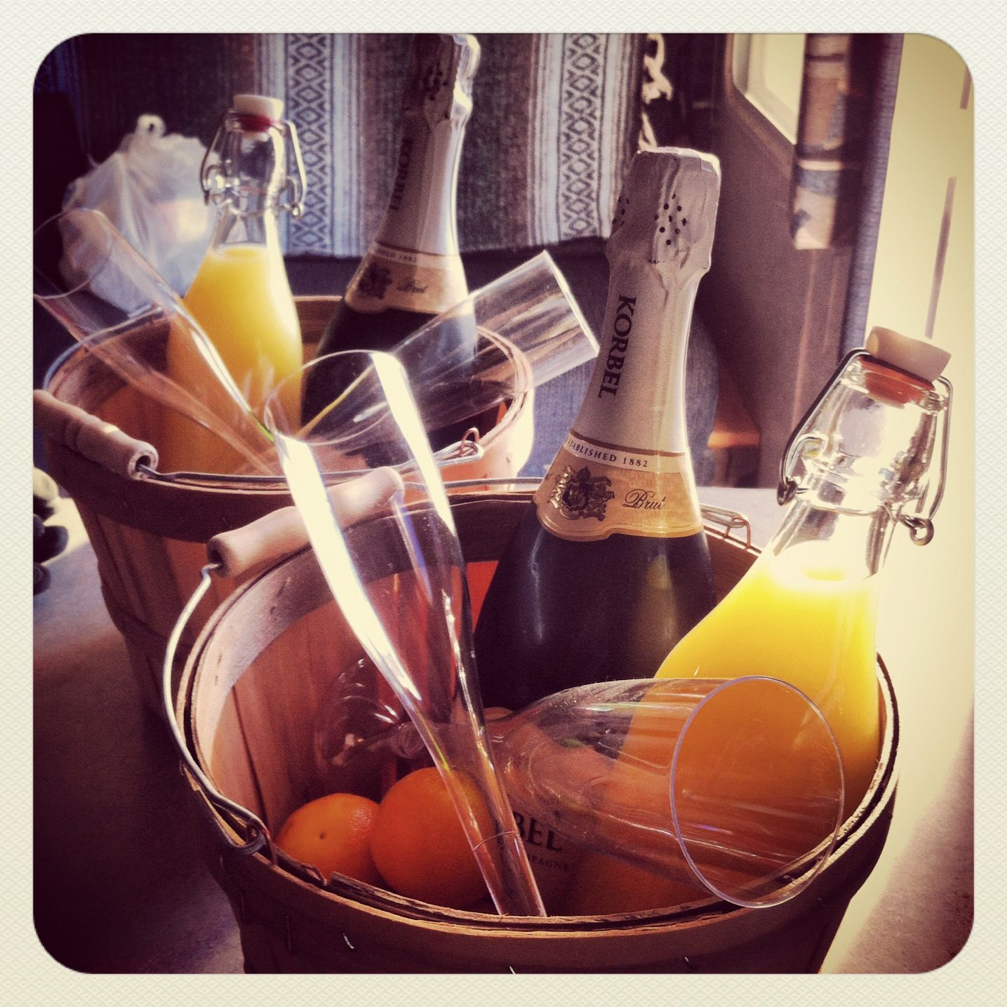 Wedding Night Basket Ideas: Mimosa Morning Gift Baskets.