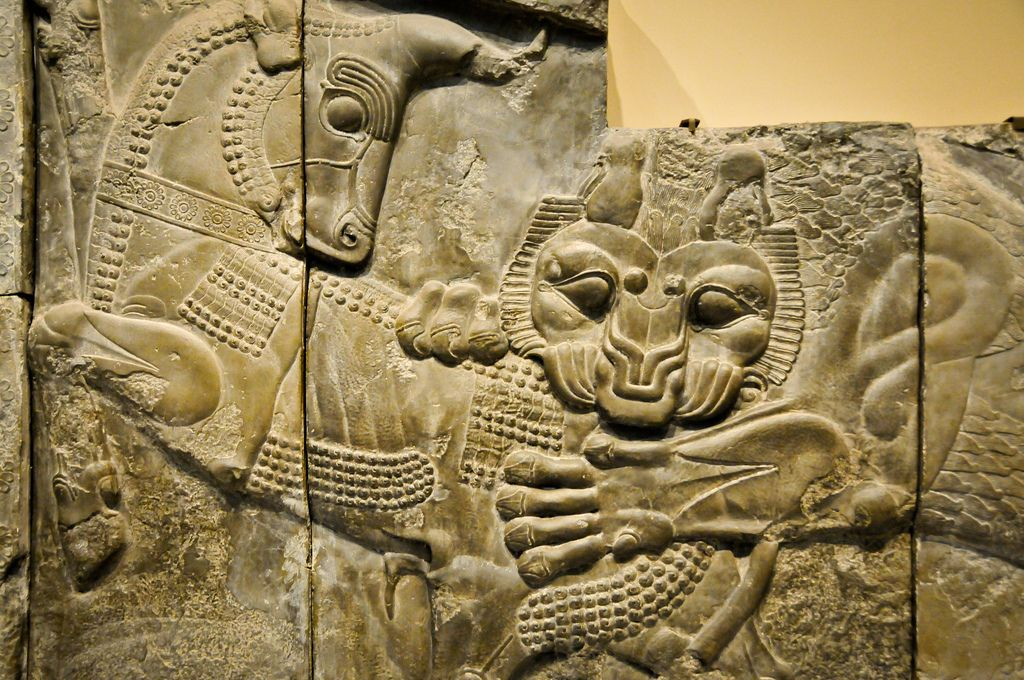 Persian Lion Attacking A Bull Relief At The British Museum London England British Museum London England Persian