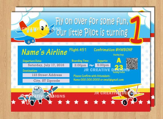 Airplane ticket Invitation Airplane ticket invite airplane - airplane ticket invitations
