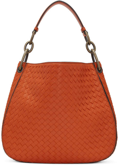8e06fa2816 Bottega Veneta Orange Small Intrecciato Hobo Bag