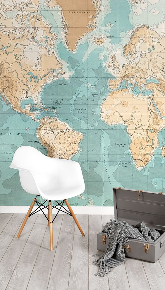 Bathyorographical vintage map mural muralswallpaper this world map wallpaper showcases subtle hues of turquoise and rustic brown to give your home a delightfully modern yet vintage feel gumiabroncs Images