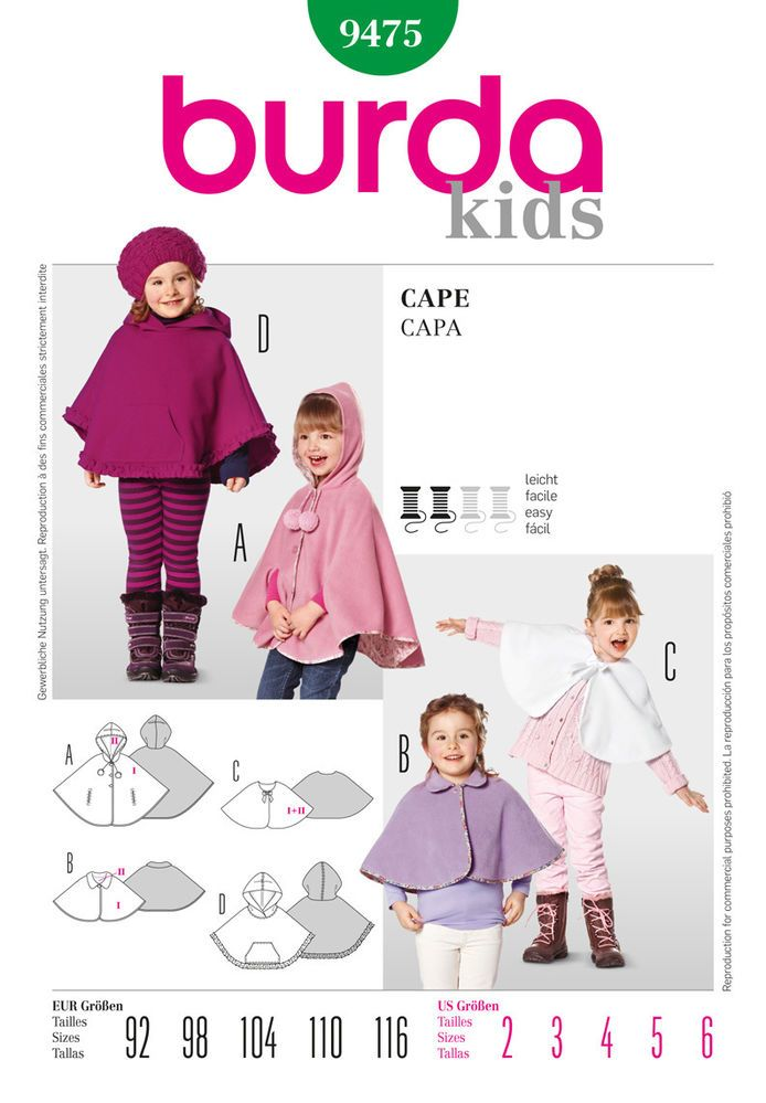 Burda 9475 Sewing Pattern Girls Cape Poncho Hood Option Fleece Wool ...