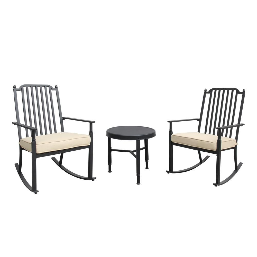 Unbranded Knoxville 3 Piece Metal Patio Conversation Set With Neutral Cushion Sc K 881rc 3 Nhd The Home Depot Rocking Chair Set Conversation Set Patio Neutral Cushions
