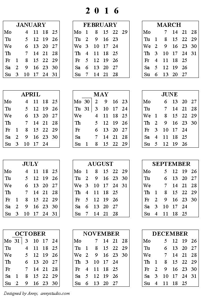 printable calendar 2016  weeks start on monday  black and