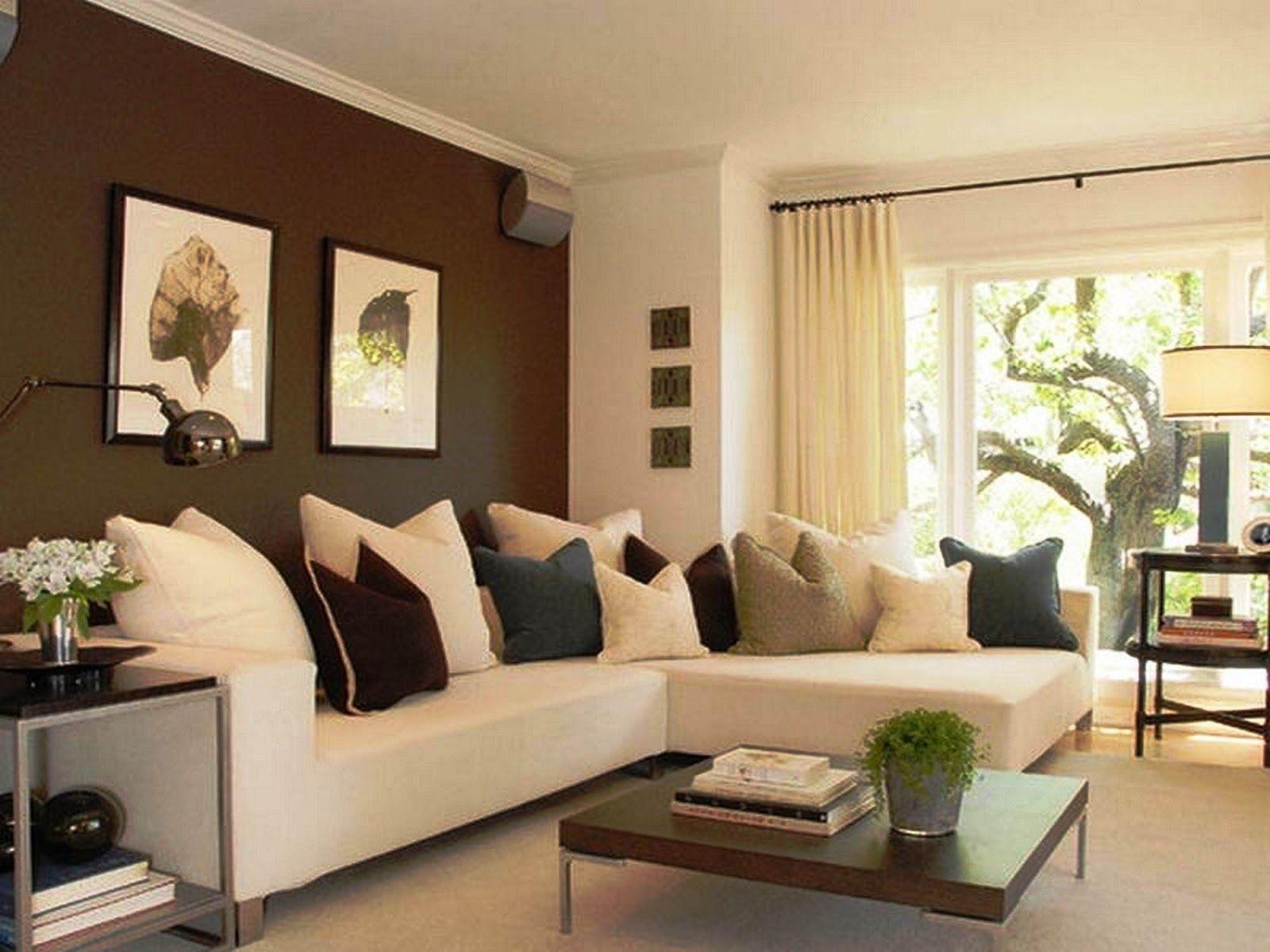 Desain Warna Cat Ruang Tamu Yang Sejuk Accent Walls In Living Room Brown Walls Living Room Living Room White