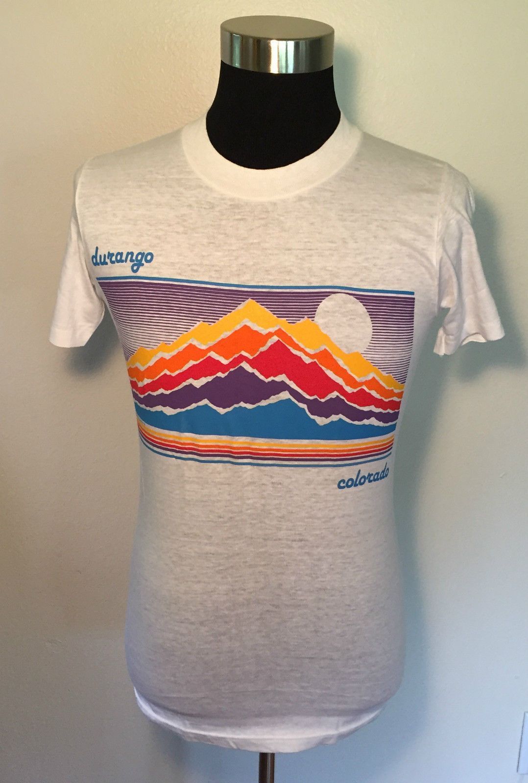 Beautiful VINTAGE T SHIRT 90's Durango Colorado STONE WASH SKULL XL  AP92