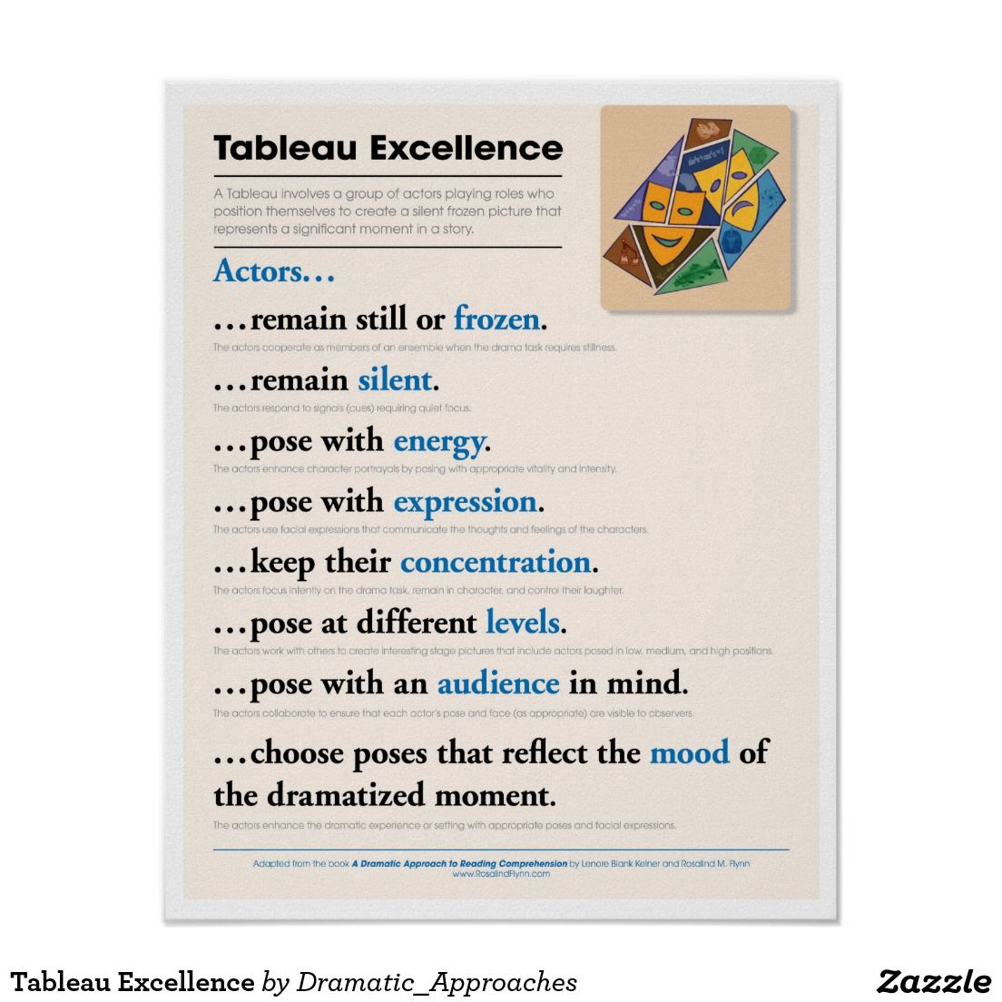 Tableau Excellence Poster | Zazzle com | The Teaching of Theatre