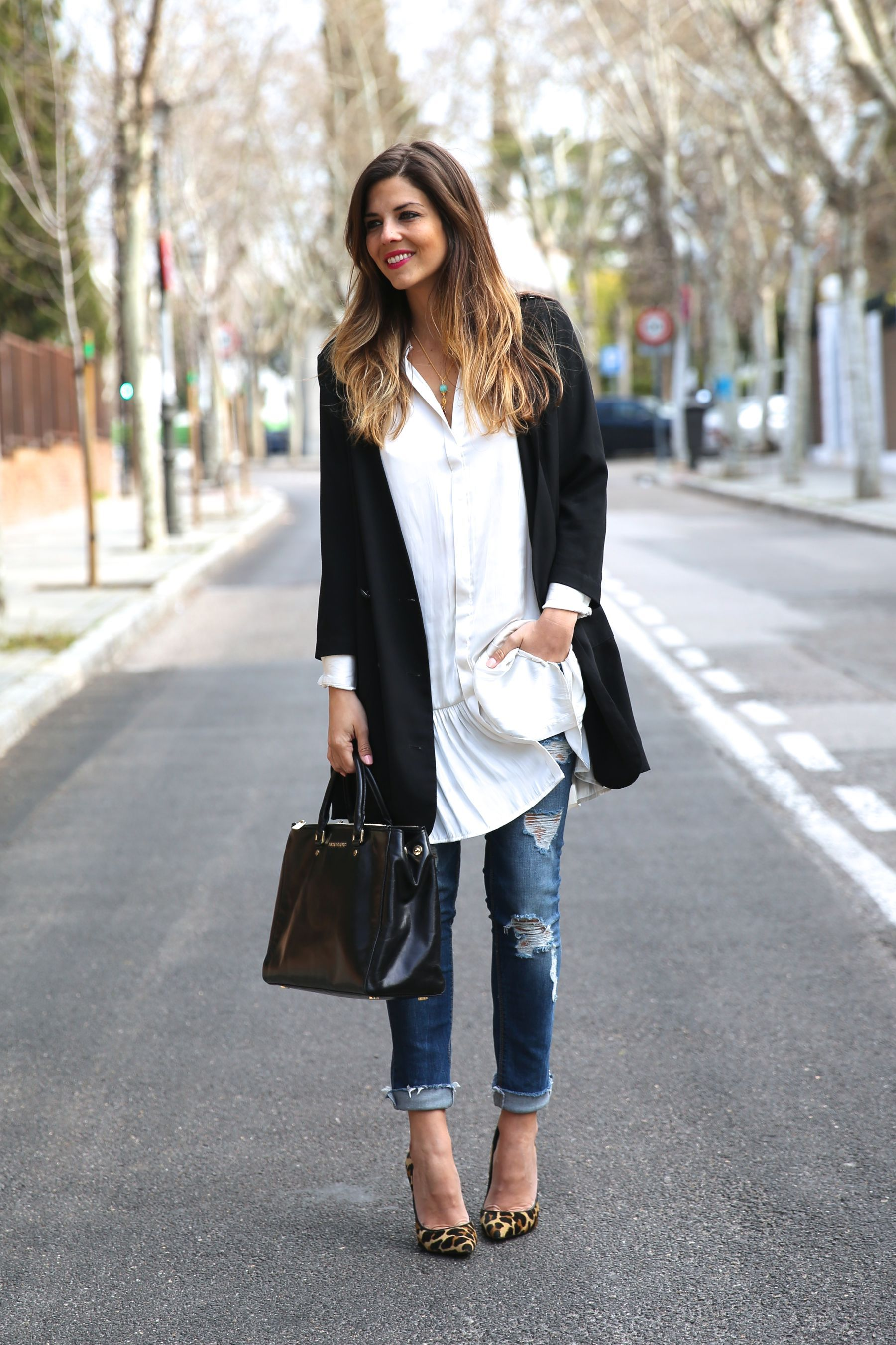 Street Style, March 2015 | Leopard pumps, Black blazers and Long black