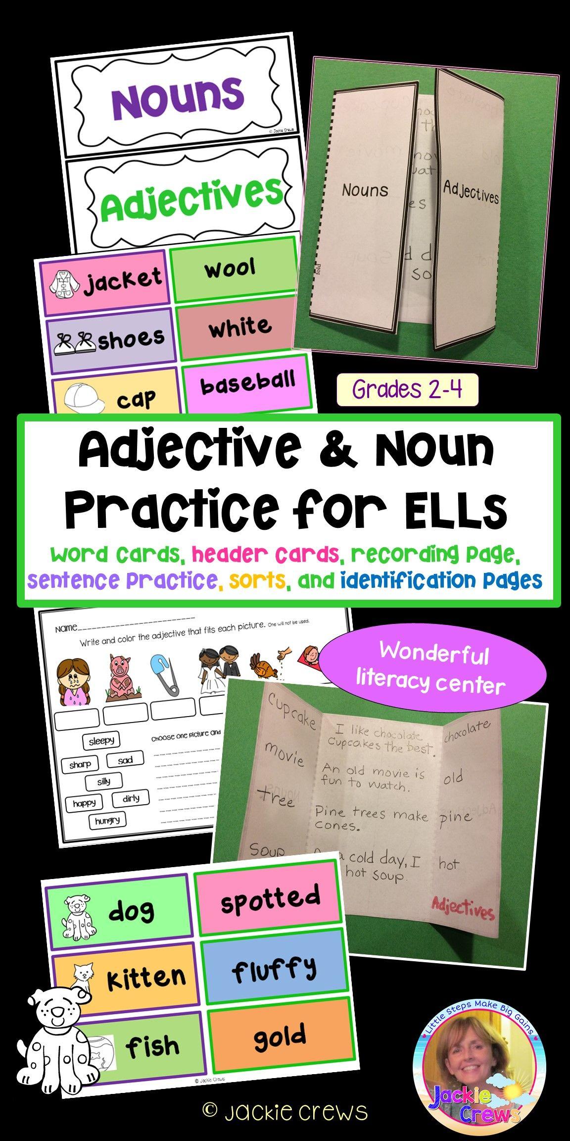 Adjective Amp Noun Practice For Ells Word Cards Sentence