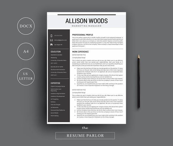 Resume Template  A  Us Letter By The Resume Parlor On