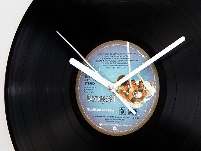 Boney M Nightflight To Venus Vinyl Record Wall Clock Amazon Co Uk Handmade Vinyl Records Record Wall Vinyl Record Clock