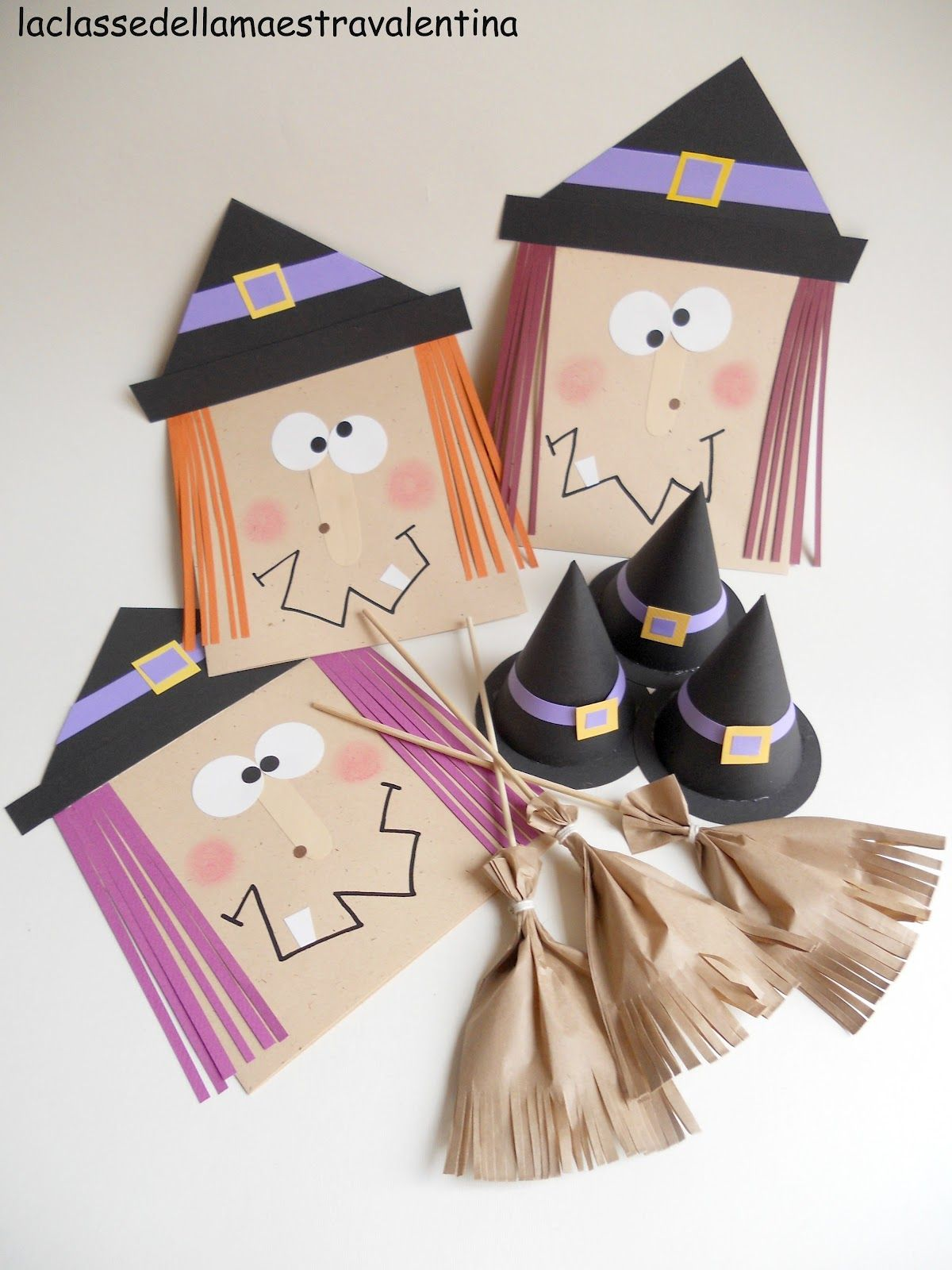 envelope witches paper bag broom lollipops and witch hats