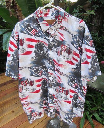 9f1d3ba2a8a HAWAIIAN Aloha SHIRT 2XL CLEARWATER USA Flag Iwo Jima Patriotic