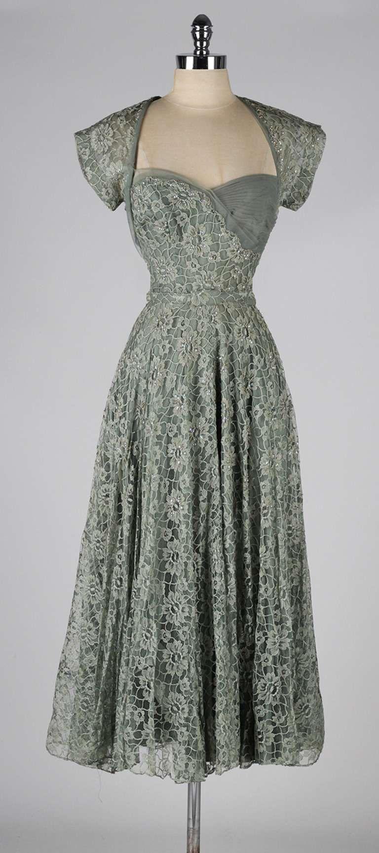Vintage us sage green lace cocktail dress vintage pinterest