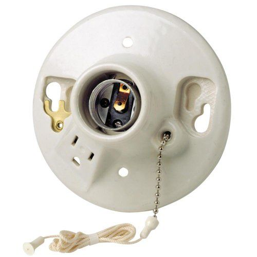 Leviton Pull Chain Socket Leviton 9726C2 Onepiece Glazed Porcelain Outlet Box Mount
