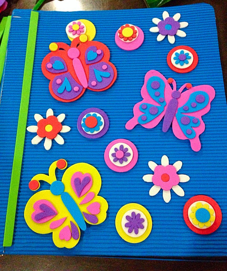 Folder decorado con papel corrugado y figuras para armar - Papel decorado manualidades ...