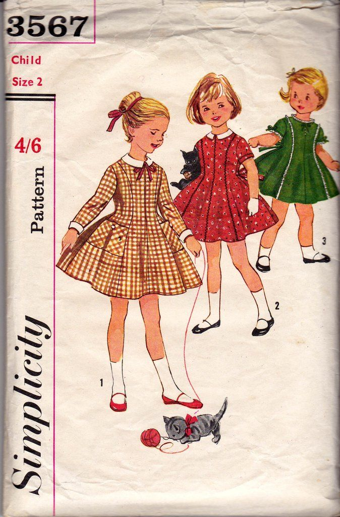 Simplicity 3567 Toddler Girl\'s Party Dress 50s Vintage Sewing ...