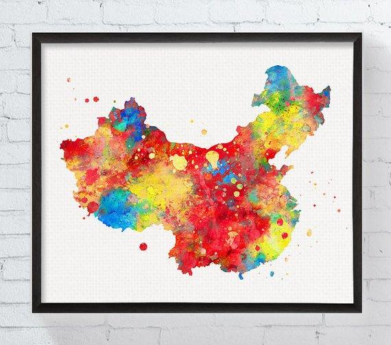 China Map Poster.China Watercolor Map Print Country Map Wall Art Housewarming Gift