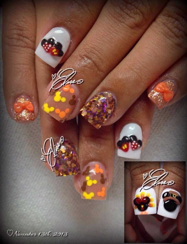 Mickey and Minnie Mouse Thanksgiving Nails | Disney nail ...