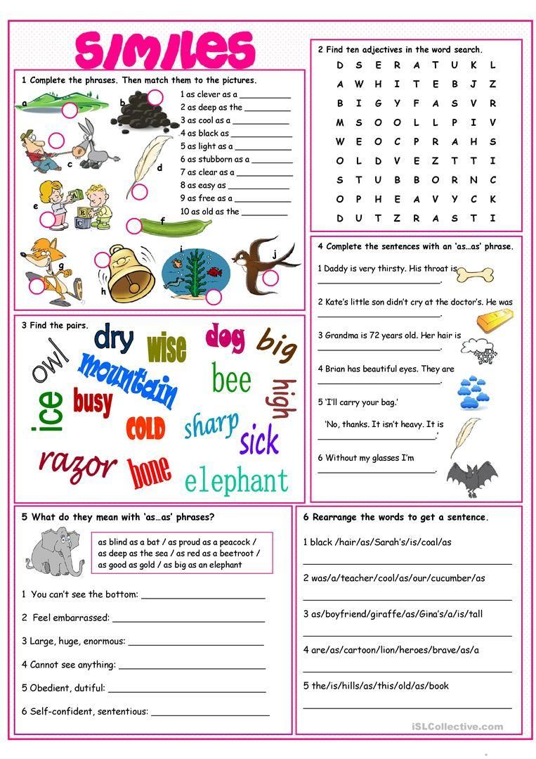 Similes Vocabulary Exercises Simile Worksheet Simile Lesson Vocabulary Exercises