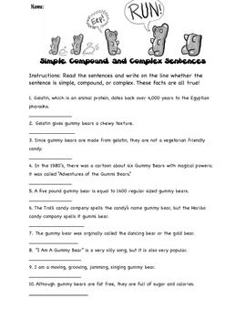 Worksheets Quiz On Types Of Sentences Simple Compound Complex Compound-complex identifying simple compound and complex sentences with gummy bear facts freebie