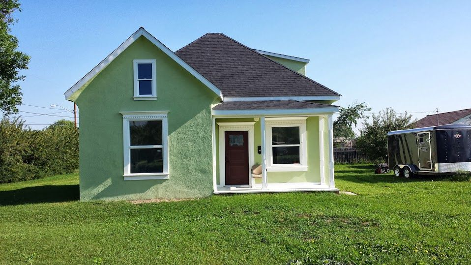 Green Stucco Exterior