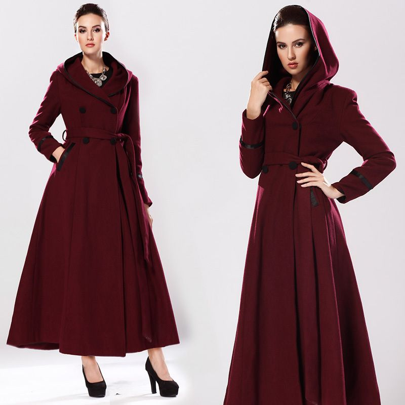 2014 New Winter Burgundy Hooded Double Breasted Cashmere Maxi Coat ...