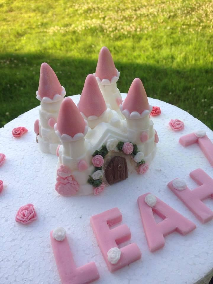 a cute pink and white fairy castle which any little girl would adore this cake