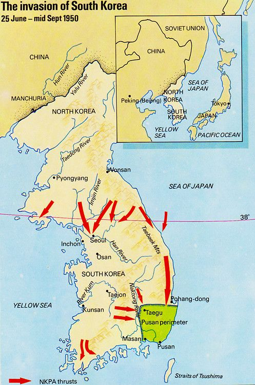 Korean War Begins Map Of The Invasion Of South Korea 25 June Mid