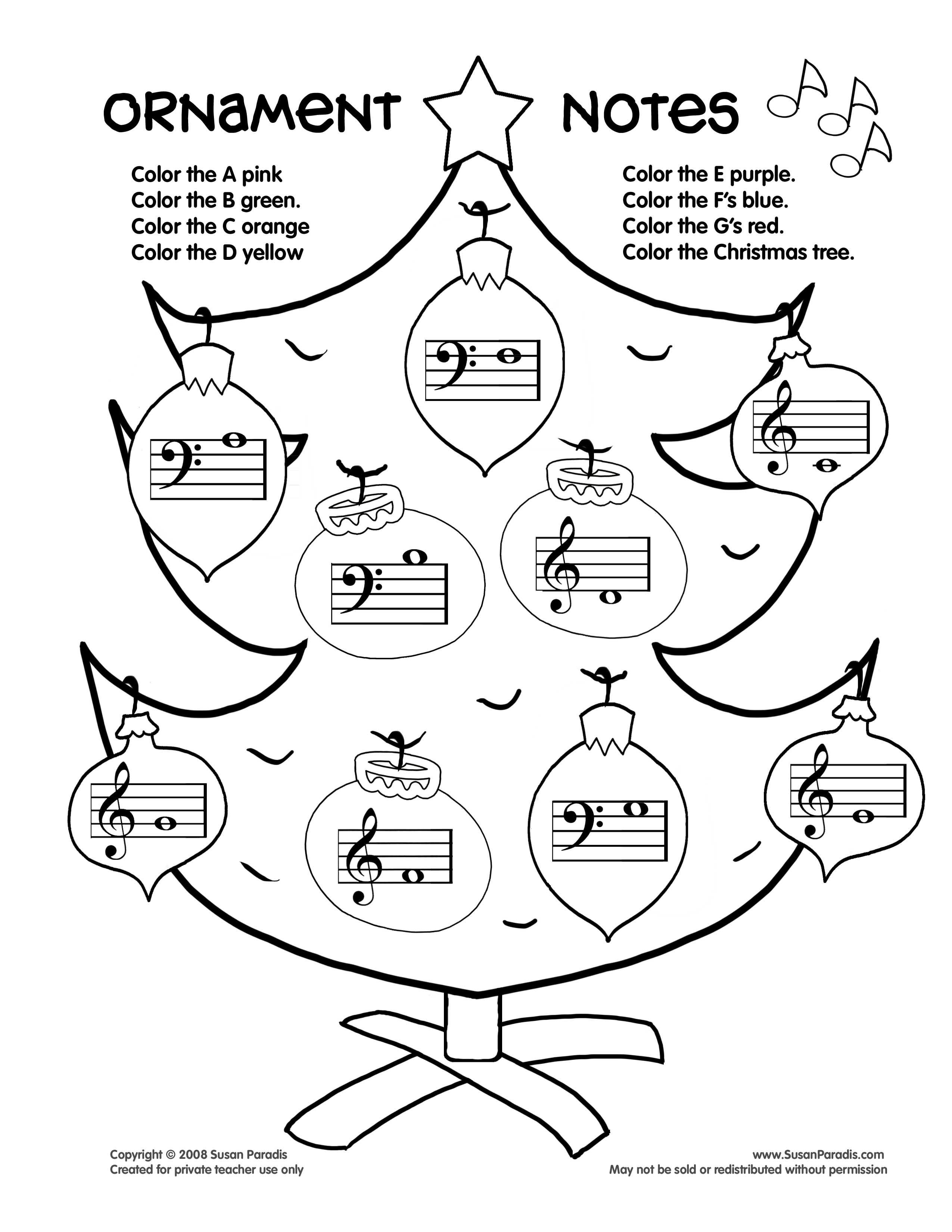 Ornament Notes | Worksheets, Pianos and Music class