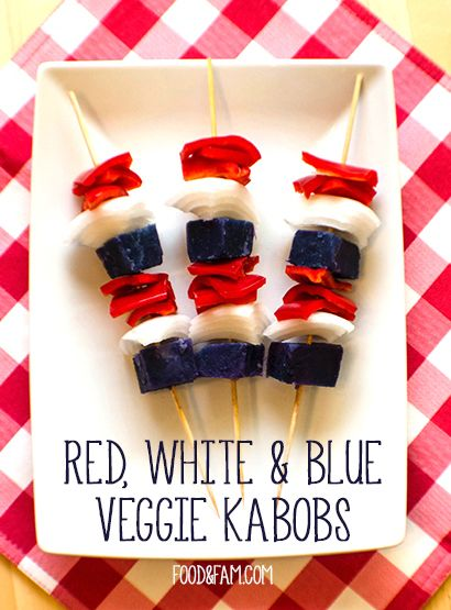 Red White & Blue Veggie Kabobs are perfect for Fourth of July grilling! Just three veggies, salt, pepper & olive oil. Simple, natural, delicious & festive!