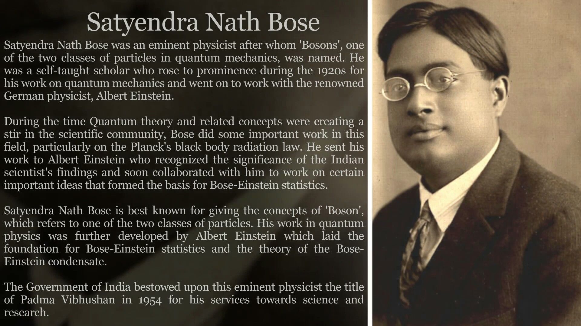 short essay on satyendra nath bose