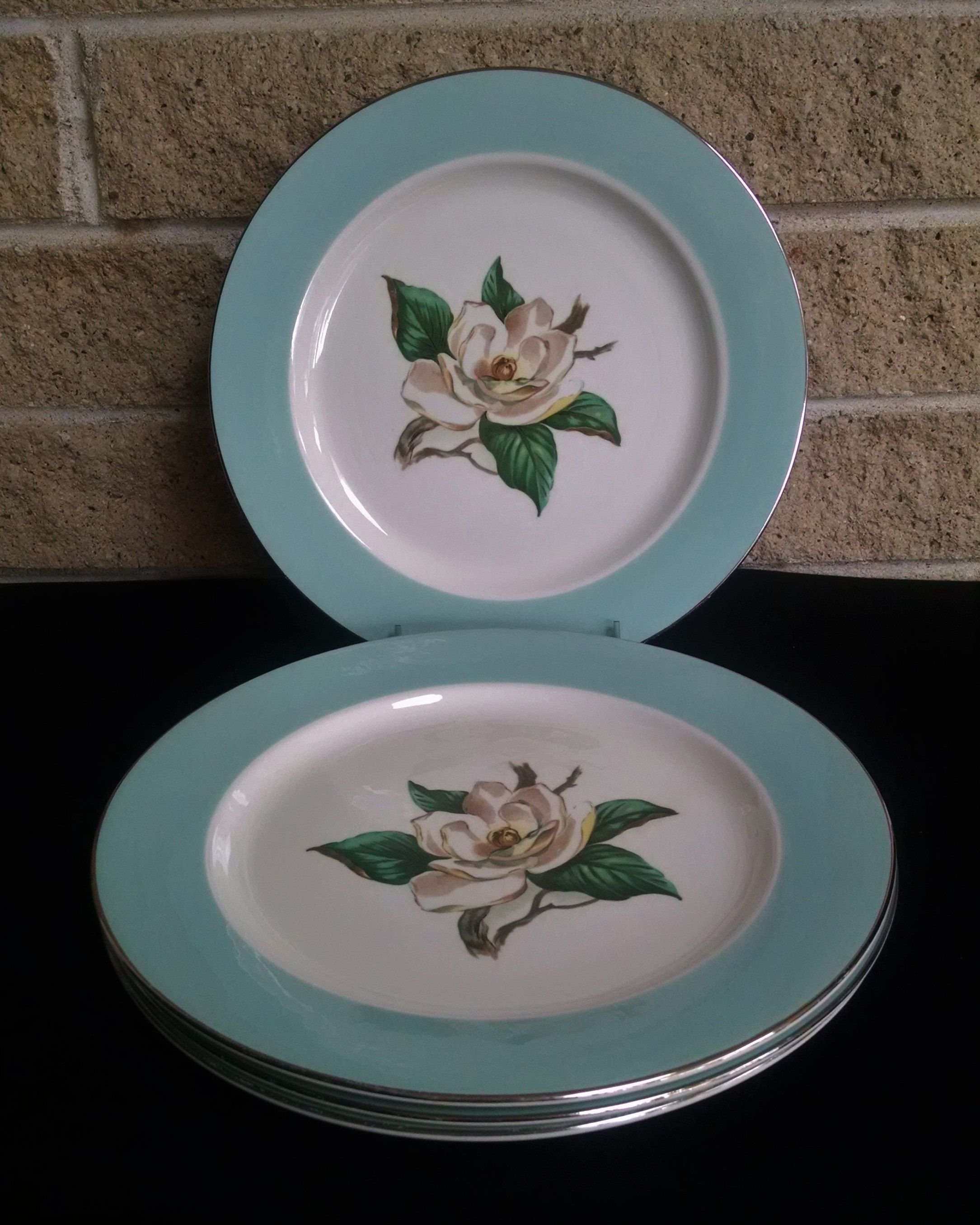 Lifetime China Turquoise Dinner Plates Magnolia Flower and Silver Trim -Set of Four - Mid Century Homer Laughlin - 1950u0027s Vintage Dinnerware & Lifetime China Turquoise Dinner Plates Magnolia Flower and Silver ...