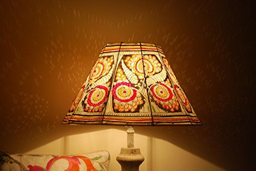 Grand Multicolour Botanic Floor Lampshade, Leather Floor Lampshade, Floor Lamp, Large Lamp Shade.