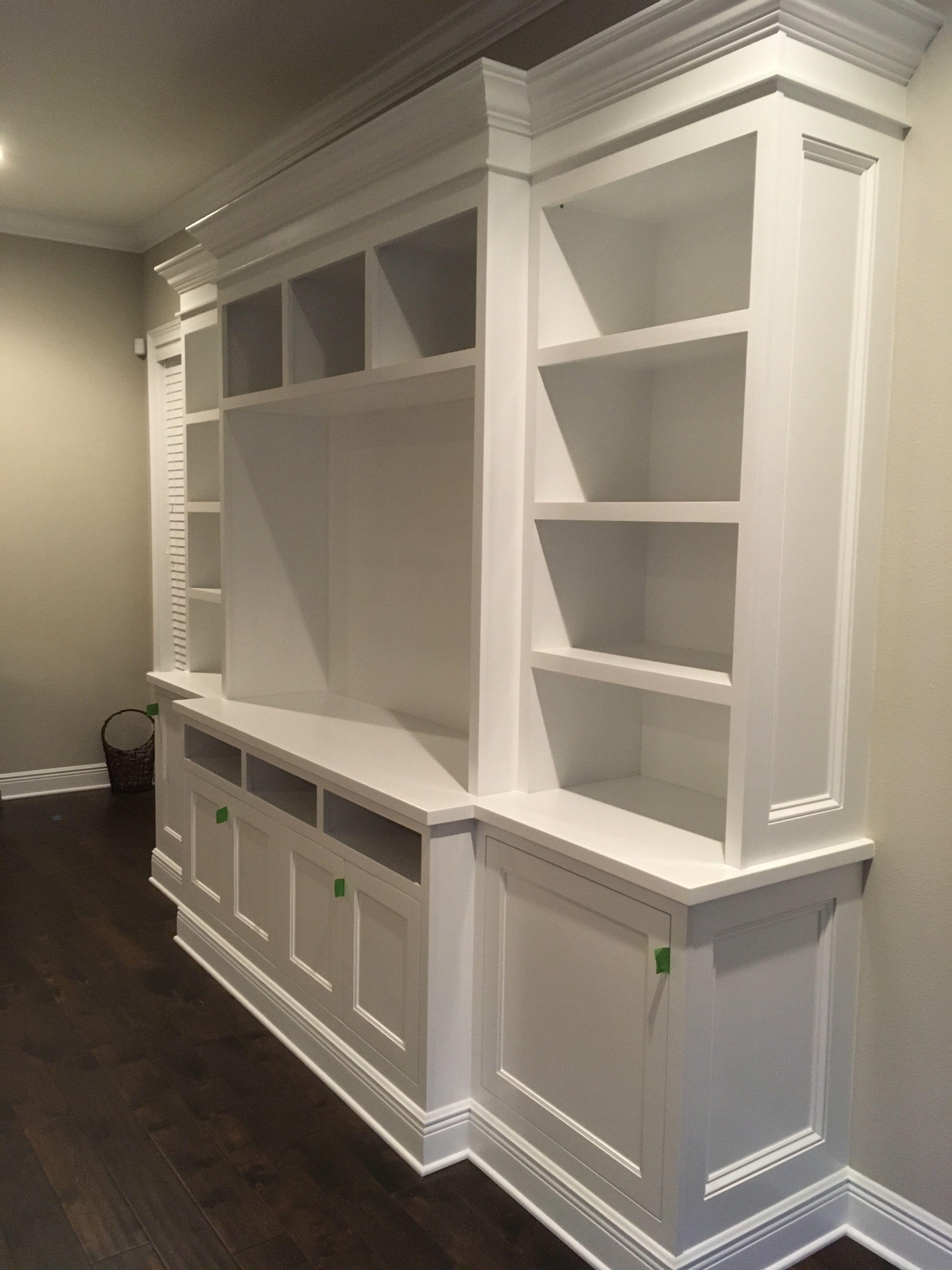 Family Room Built In Installing The Top Or Header Bookshelves Diy Built In Shelves Living Room Built In Wall Shelves