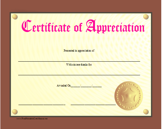 a certificate of appreciation that looks like a plaque complete
