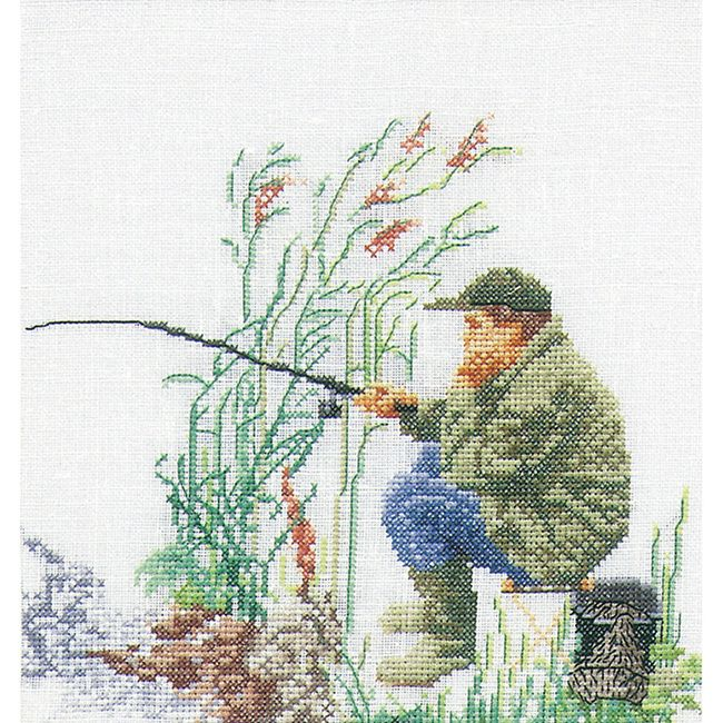 THEA GOUVERNEUR-Fishing On Linen Counted Cross Stitch Kit: Thirty-Six Count. Inspired by nature; these kits are detailed using a variety of colors with results that are realistic and true to nature!