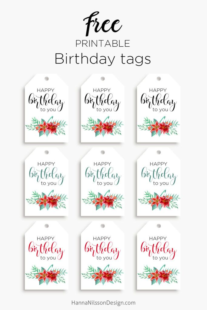 Printable Floral Birthday Cards Tags And Gift Box FREE Download Happy Tag