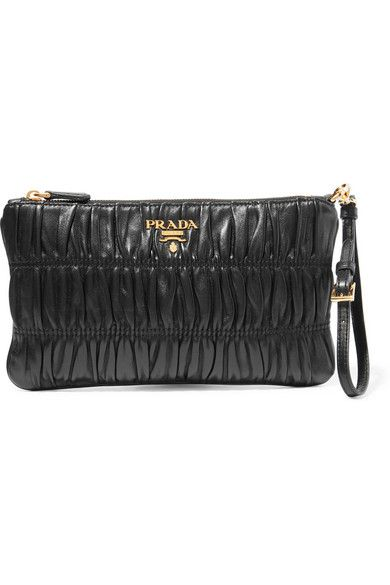 db25dc2359d2 Black leather (Lamb) Clutch with zip fastening along top | Made in Italy |  Prada