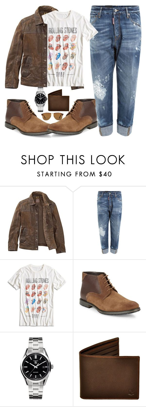 """""""Untitled #1629"""" by anarita11 ❤ liked on Polyvore featuring Timberland, Dsquared2, Lucky Brand, BLACK BROWN 1826, TAG Heuer, Persol, men's fashion and menswear"""