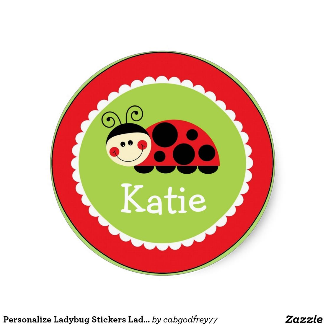 personalise ladybug stickers lady bug sticker red lienky