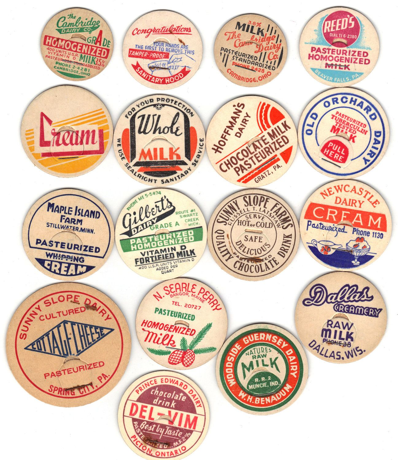 Poster design 1940 - 17 Old Early 1940 50 S Dairy Milk Bottle Caps Or Tops