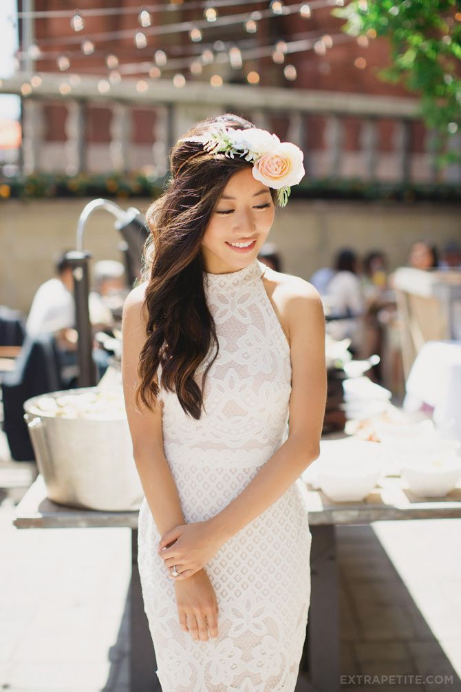 garden party bridal shower brunch in white lace dress flower crown