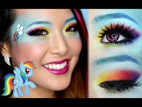 ❤ Rainbow Dash Makeup Tutorial ❤ also cute idea for hoodie costume - cute makeup ideas for halloween