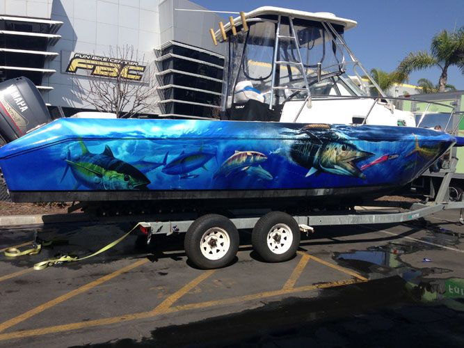 Custom boat graphics by non stop signs