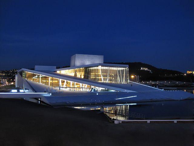 The Oslo Opera House By Night Oslo Opera House Norwegian Architecture Scandinavian Architecture